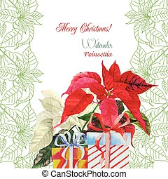 Background with bouquet poinsettia