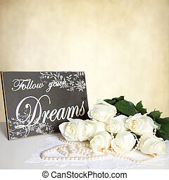 Background with Bouquet White Roses and Sign
