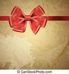 background with bow on realistic paper vector illustration