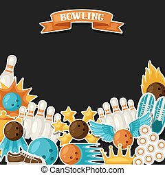 Background with bowling items. Image for advertising booklets, banners and flyers