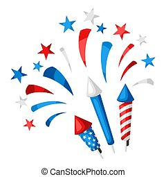 Background with bright colorful fireworks and salute.