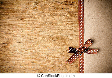 background with brown ribbon and kraft paper - Wooden ...