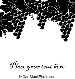 Background with bunch of grapes and place for your text