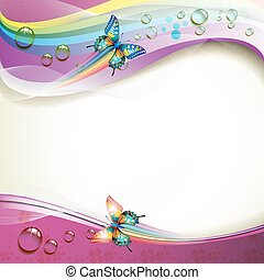 Background with butterflies and drops of water over rainbow...