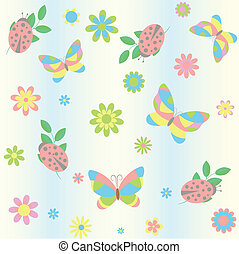background with butterfly and ladybird