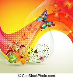 Colorful background with butterfly and flowers