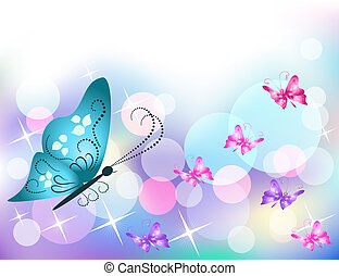 Background with butterfly and stars
