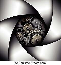 Background with camera lens shutter with gears inside
