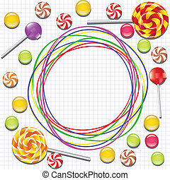 background with candies and doodle frame
