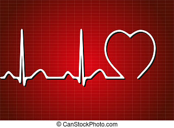 Background with cardiogram, vector illustration