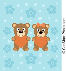 Background  with cartoon bears