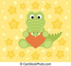 Background with cartoon crocodile