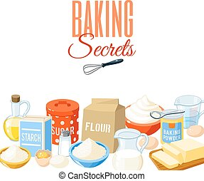 Background with cartoon food: baking ingredients - flour, ...