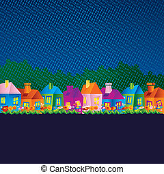 background with cartoon houses