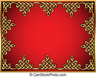 background with Celtic ornaments of gold
