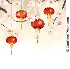 Background with Cherry Blossom and Hanging Lanterns