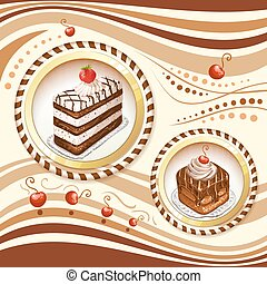 Background with chocolate cakes