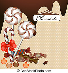 Background with chocolate candy and ribbon