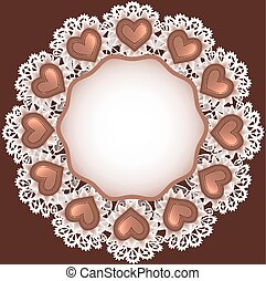 background with chocolate candy heart shape on the cloth top...