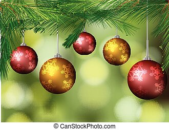 Background with christmas balls on the tree