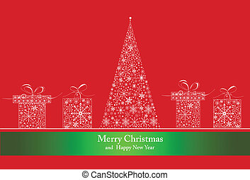 Background with christmas baubles, vector illustration