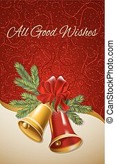 Background with Christmas bells. Vector illustration.