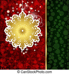 Background with Christmas decoration and snowflakes, illustration.