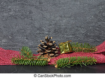 Background with Christmas decoration on shale