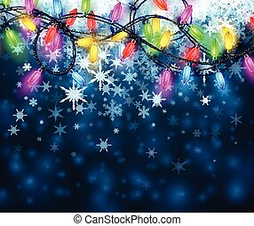 Background with Christmas garland and snow.