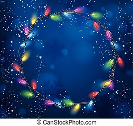Background with Christmas garland of lights.
