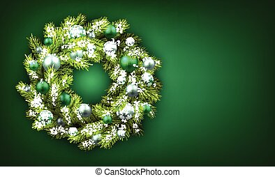 Green background with Christmas wreath. illustration.