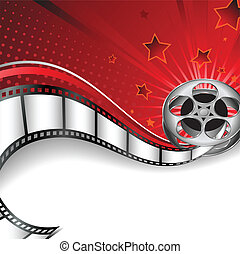 Vector abstract background inspired by film industry, with film reel and space for text.