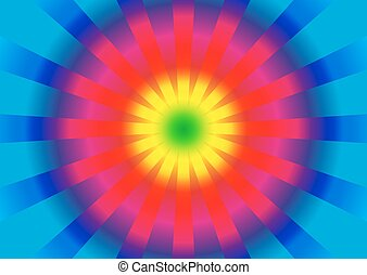 Background with circle rainbow gradient and burst from center
