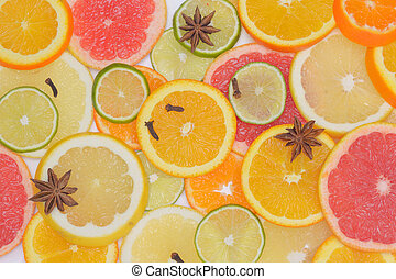 Background with citrus fruit slices