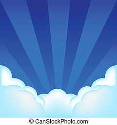 Background With Clouds And Beams, Vector Illustration