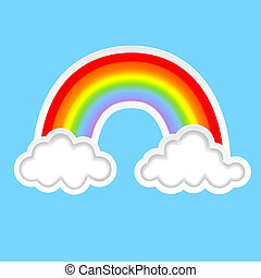 background with clouds and rainbow