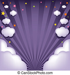 Background With Clouds And Stars