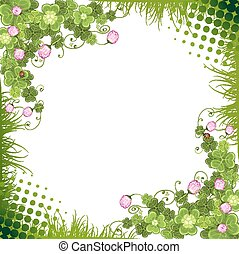 Background with clover and butterflies