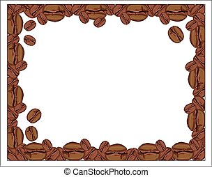 Background with coffee beans on white background