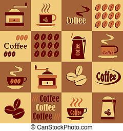 set of vector images of coffee on a checkerboard background in shades of brown