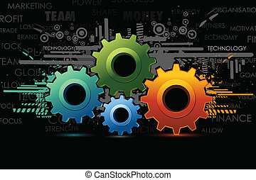 Background with cog wheel - illustration of colorful cog...