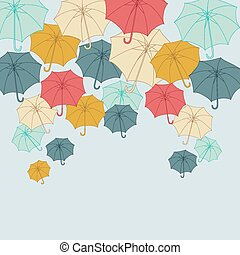 Background with collor umbrellas. Vector autumn illustration