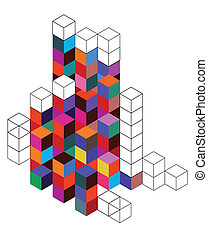 Background with color cube and grid