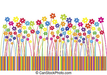 Background with colored flowers and stripes