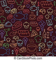 colored line icons of restaurant and fast food like coffee, pizza, sausage and ice cream. Seamless pattern.