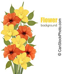 Background with colorful beautiful flowers. Vector illustration