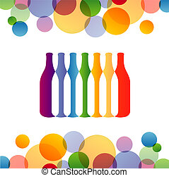 Background with colorful bottles