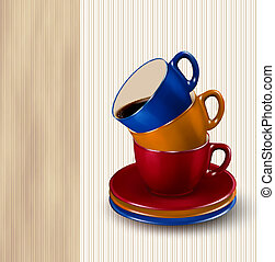 Background with colorful cups of coffee. Coffee design template. Vector