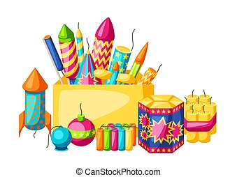 Background with colorful fireworks. Different types of pyrotechnics, salutes and firecrackers