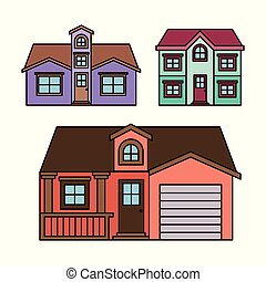 background with colorful group of houses facades